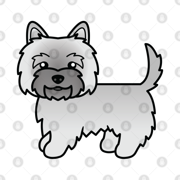 Gray Cairn Terrier Dog Cute Cartoon Illustration