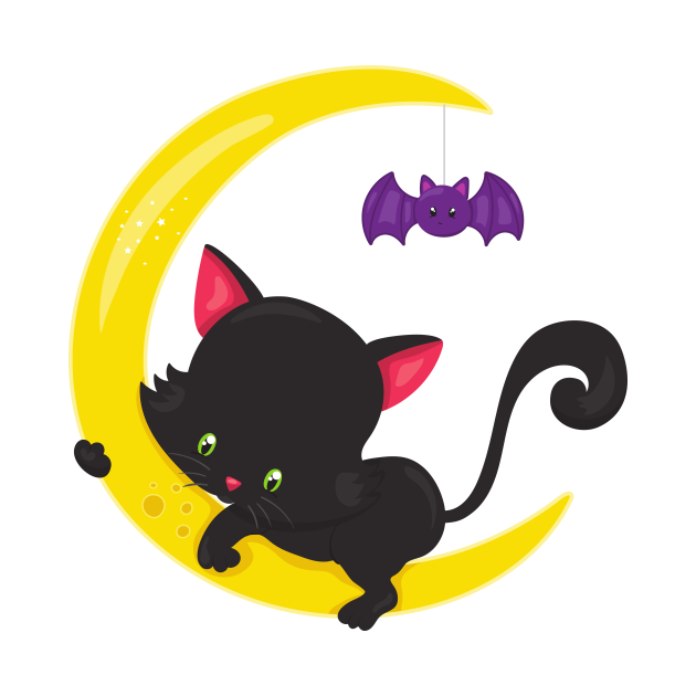 Black Cat, Cat On The Moon, Bat, Halloween