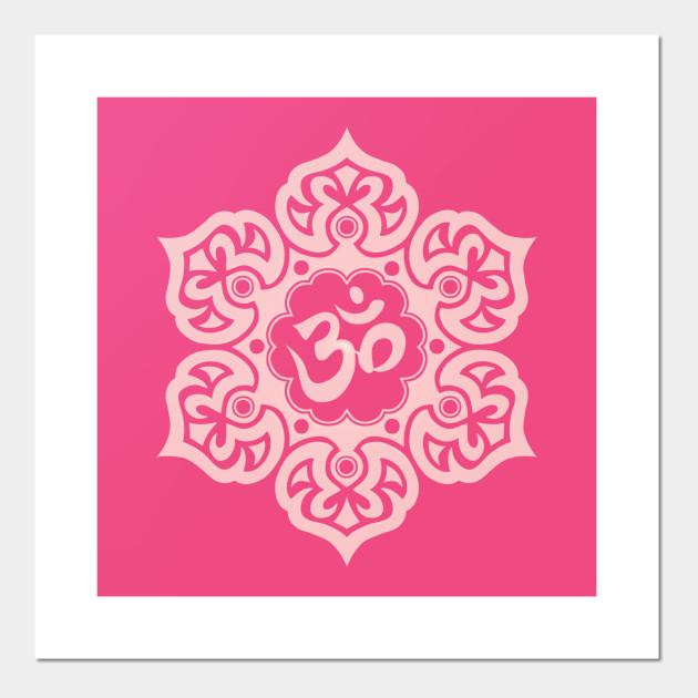 Pink Lotus Flower Yoga Om Om Posters And Art Prints Teepublic