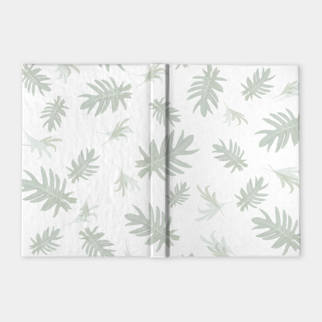Autumn fall tropical palm leaves pattern gray on white