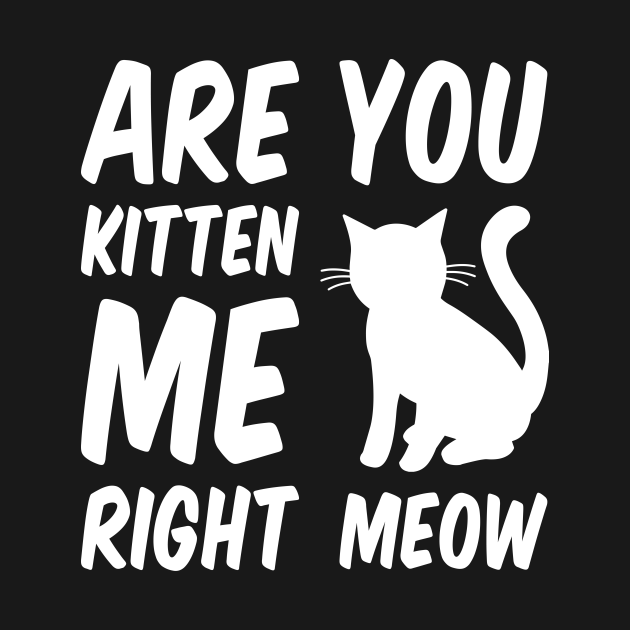 Are You Kitten Me Right Meow - White Cat