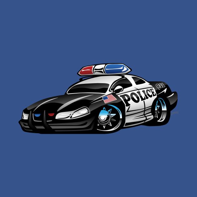 Police Muscle Car Cartoon Police Car T Shirt Teepublic