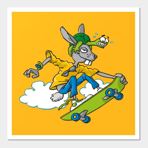Hare and Tortoise - Skateboarding - Wall Art | TeePublic