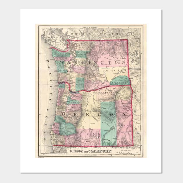 Vintage Oregon Map.Vintage Map Of Washington And Oregon 1875 Pacific Northwest Map