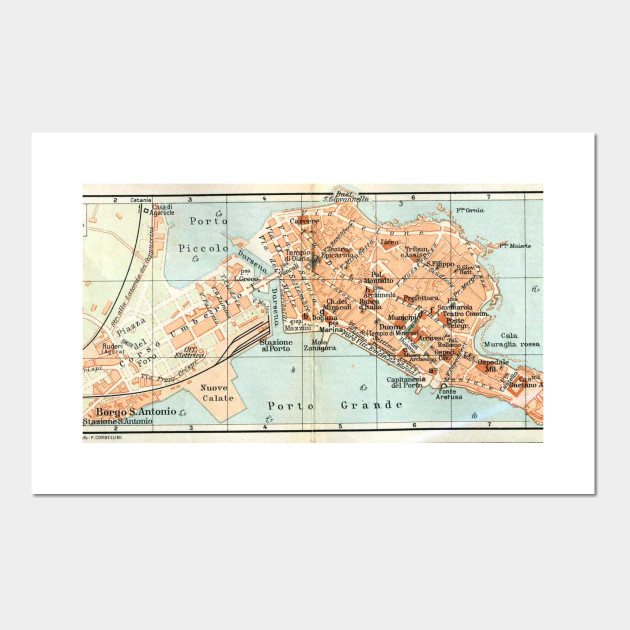 Vintage Map Of Syracuse Italy 1905 Syracuse Italy Posters And