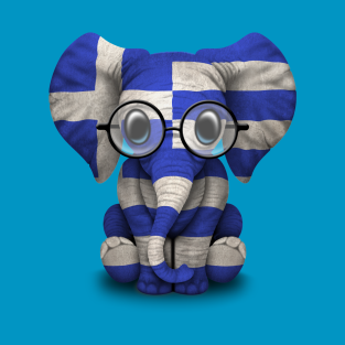 Baby Elephant with Glasses and Greek Flag t-shirts