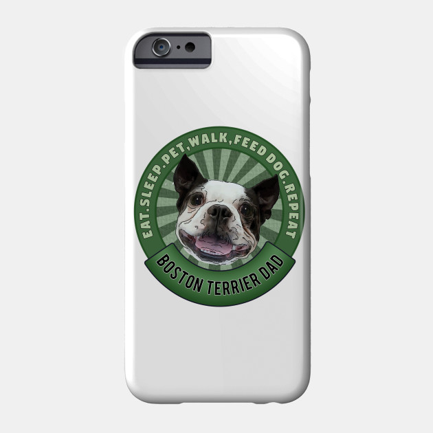 a29426e3 Boston Terrier Dad Eat Sleep Dog Repeat Badge - Dog Dad Gifts ...