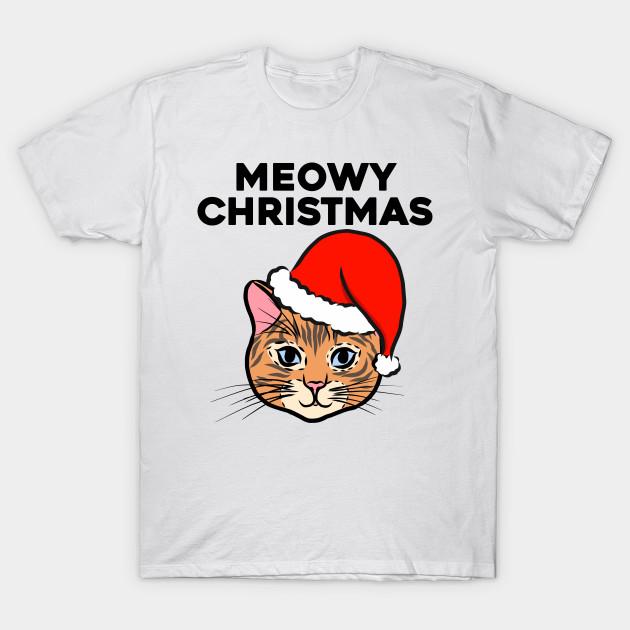 24e08f28d Meowy Christmas Cute Cat Ginger Kitten Christmas Cat Santa Claus Hat Snow  Kitty Merry Christmas T-Shirt