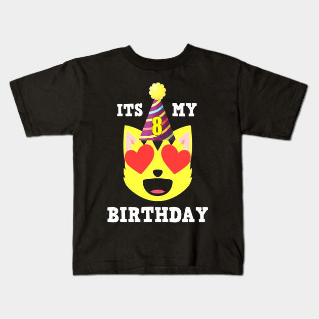 8th Birthday T Shirt Heart Eyes Cat Emoji Kids