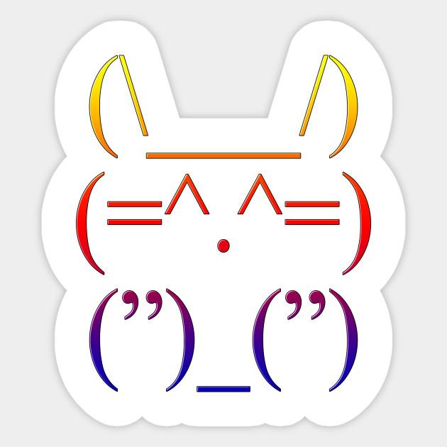 Super Cute Bunny Ascii Art Cute Bunny Sticker Teepublic