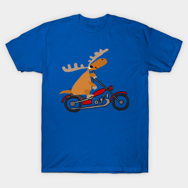 Funny Funky Moose Riding Motorcycle Art