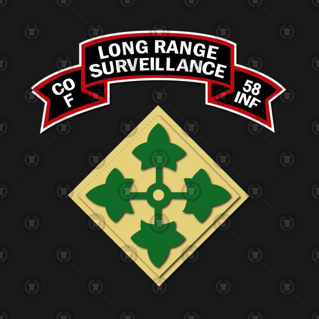 F Co 58th Infantry (Ranger) Scroll - LRRP w 4th ID