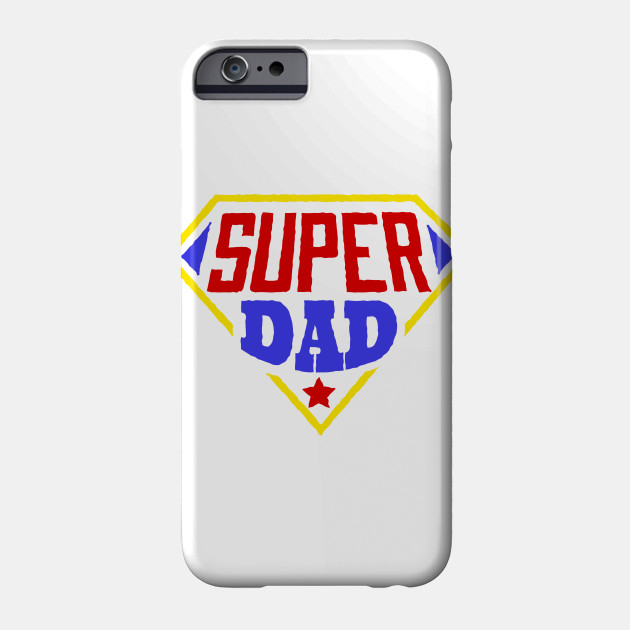 Father's Day Design Super Dad Superhero Red Blue & Yellow