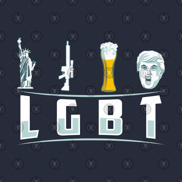 b7136b20e1 ... LGBT Liberty Guns Beer Trump Shirt - Funny LGBT Parody T-shirt Gift