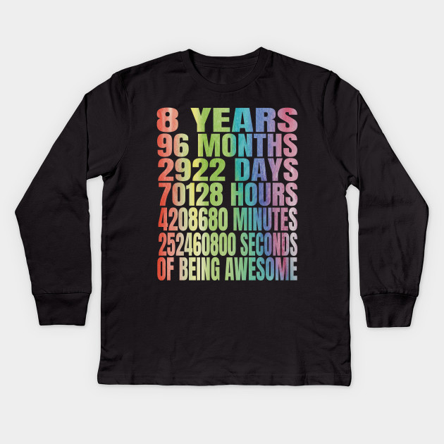 8th Birthday Girl T Shirt 8 Years Old Party Kids Long Sleeve