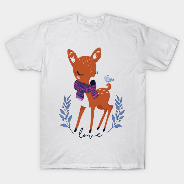 1264bc2ad Little Bird With Deer Vector - Deer - T-Shirt | TeePublic