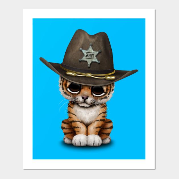 4184b8272 Cute Baby Tiger Cub Sheriff - Tiger - Posters and Art Prints | TeePublic
