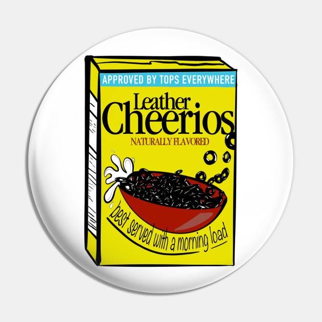 leather cheerios humor pin teepublic teepublic