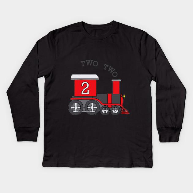 Kids Two Train 2nd Birthday T Shirt Long Sleeve