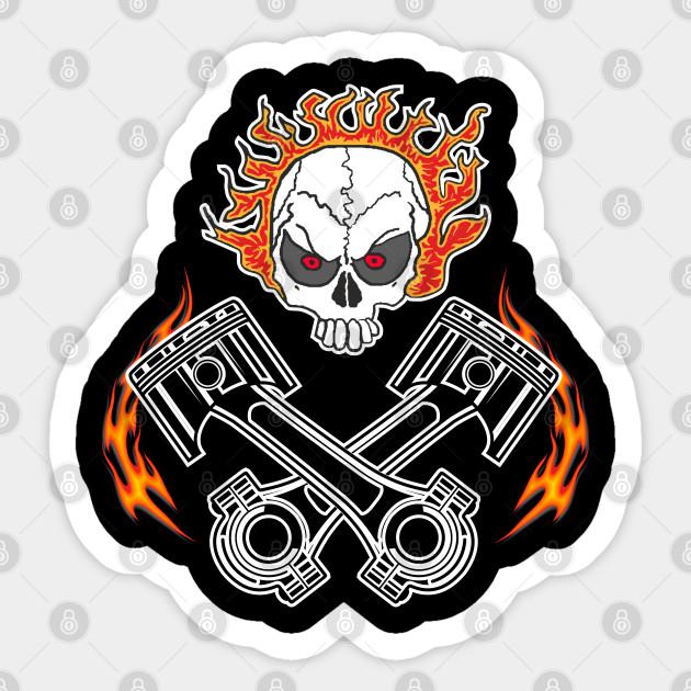 Pistons Skull Mechanic Car Vinyl Sticker SELECT SIZE