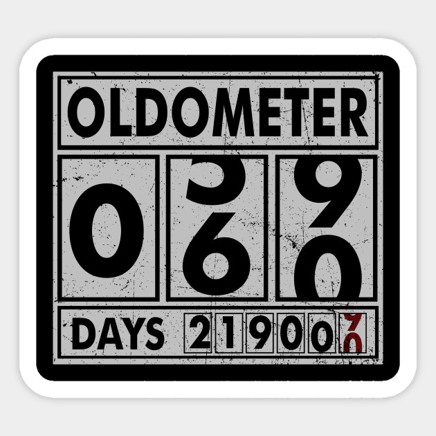 OLDOMETER 60 Years Old Made In 1958 60th Birthday Sticker
