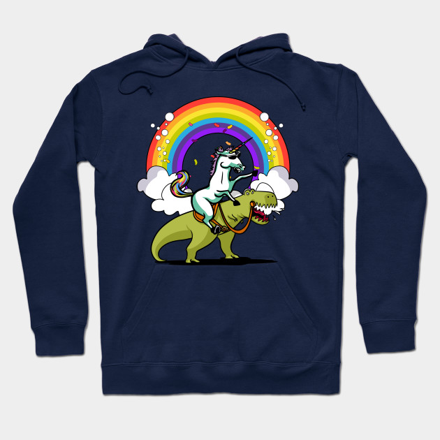 Unicorn Riding T-Rex Party Dinosaur Colorful Rainbow