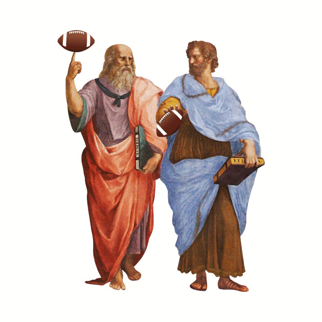 Aristotle and Plato with Footballs Pigskin Grid Raphael School of Athens Philosophy Gift Shirt for Philosophers and Book Lovers
