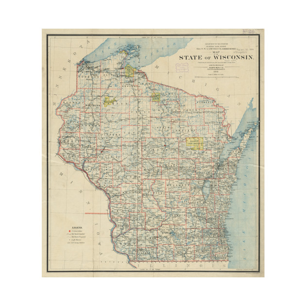 Vintage Map of Wisconsin (1895)   Wisconsin Map   Kids T Shirt