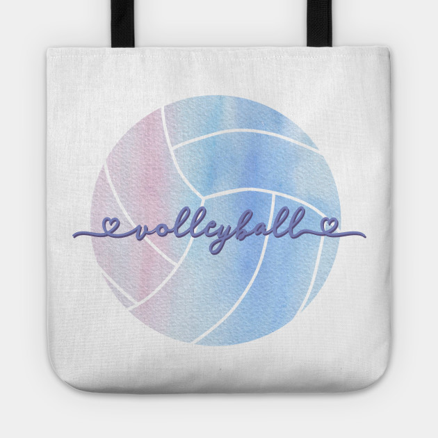 I Love Volleyball Watercolor Aesthetic Pastel Pink Purple And Blue Volleyball Tote Teepublic