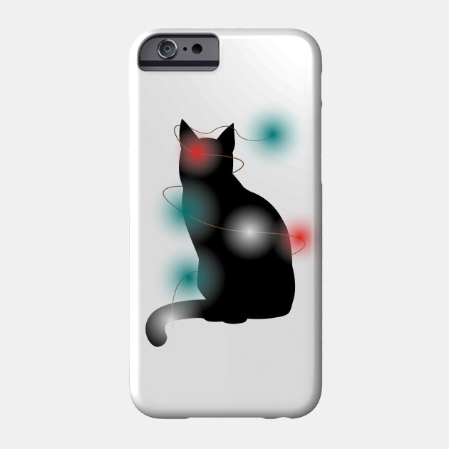 Black Cat Christmas Light Funny Cat Lover Christmas Phone Case