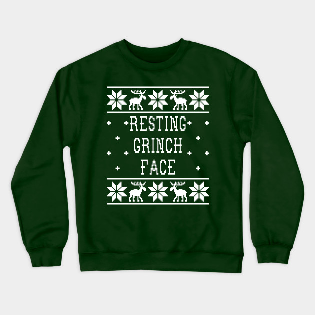 Grinch Christmas Sweater.Resting Grinch Face Ugly Christmas Sweater