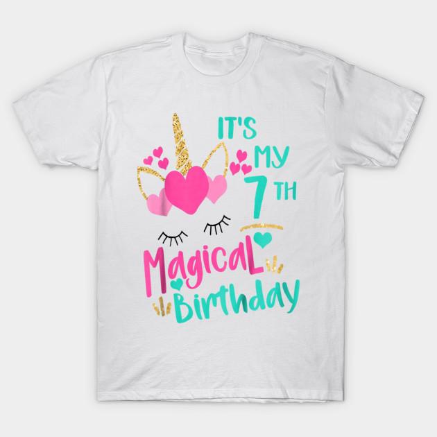 Its My 7th Magical Birthday Girls Unicorn Shirt T