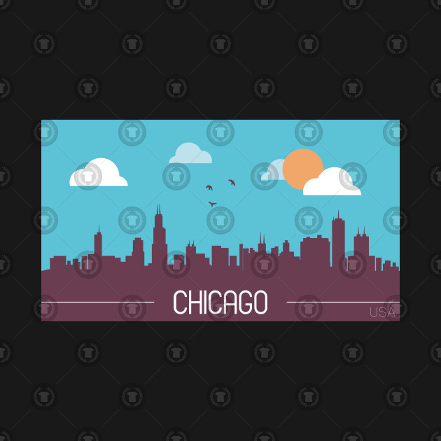Chicago USA Skyline Silhouette Cityscape