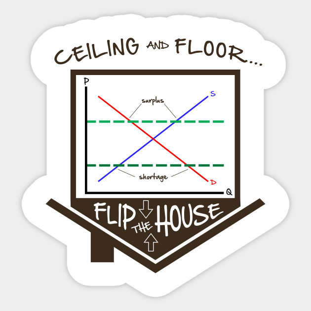 Flip The House Economics Price Ceiling Floor Graph Econ Teacher Tee