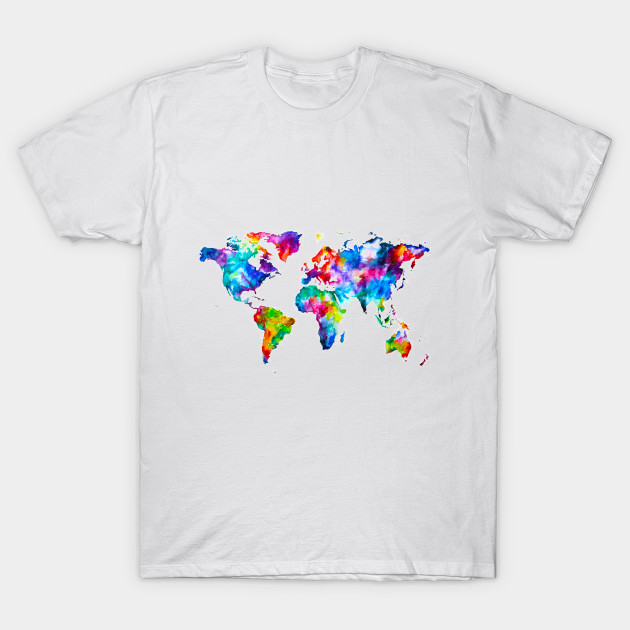 World Map Graphic Abstract Paint Splatter