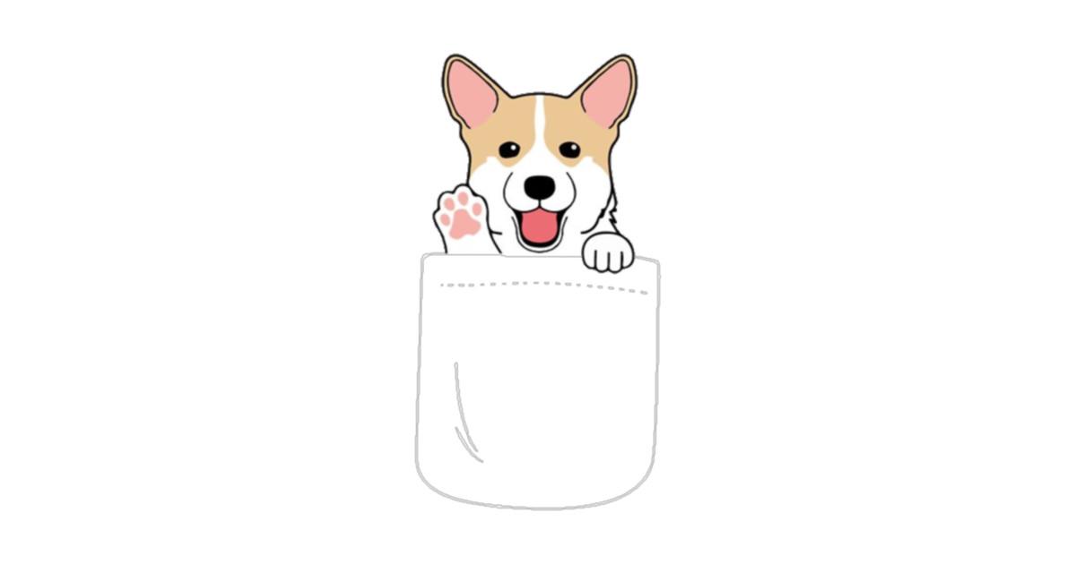 Corgi In Pocket Cute Paws Blush Smile Puppy Emoji by dorisjkeenum