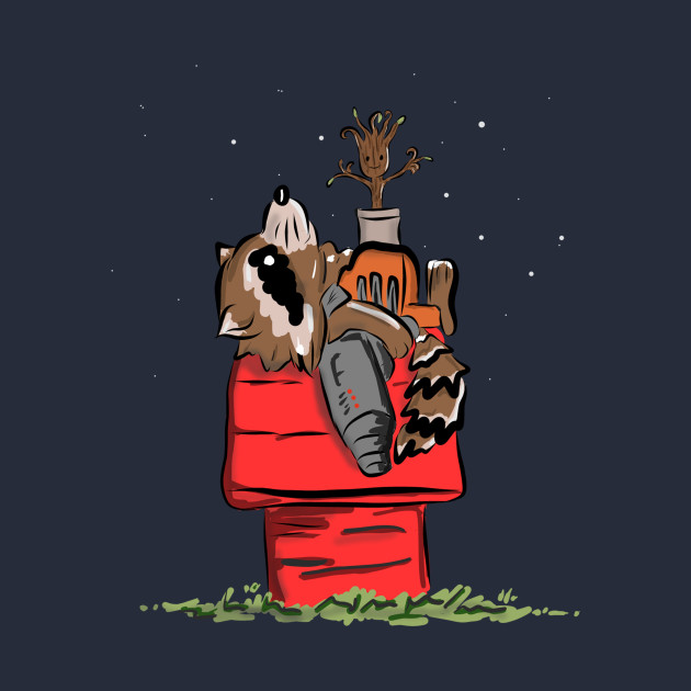 Rocket and Groot in Snoopy's World