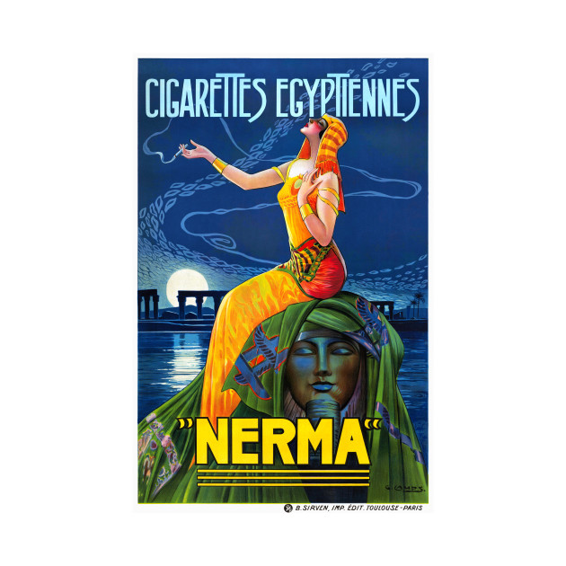 Vintage Travel Poster France Nerma Cigarettes Egyptiennes