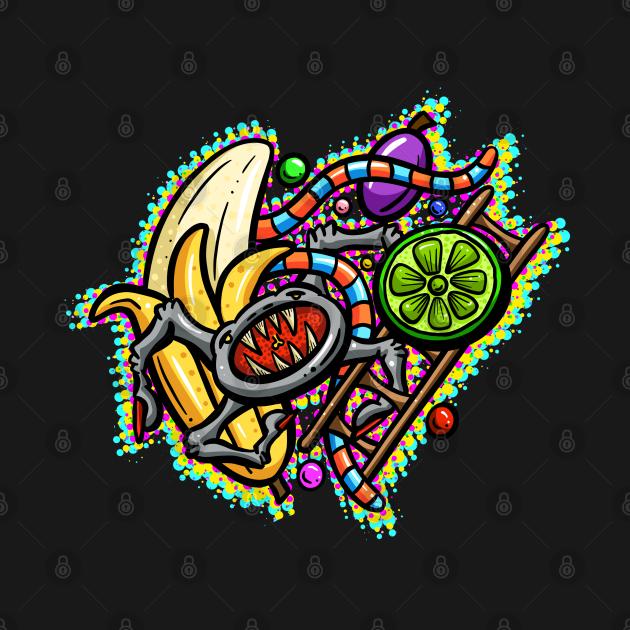 Lowbrow Lofi Art Cartoon Spider Lime