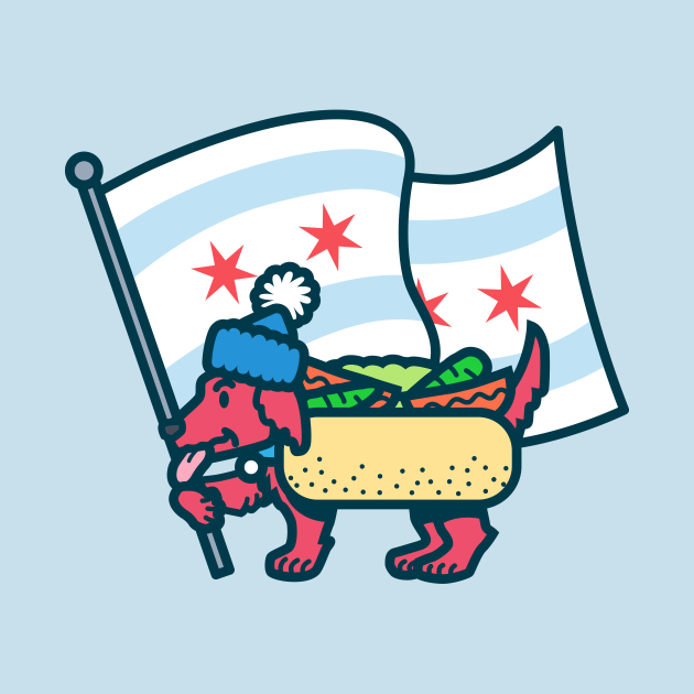 Chicago Dog with Flag
