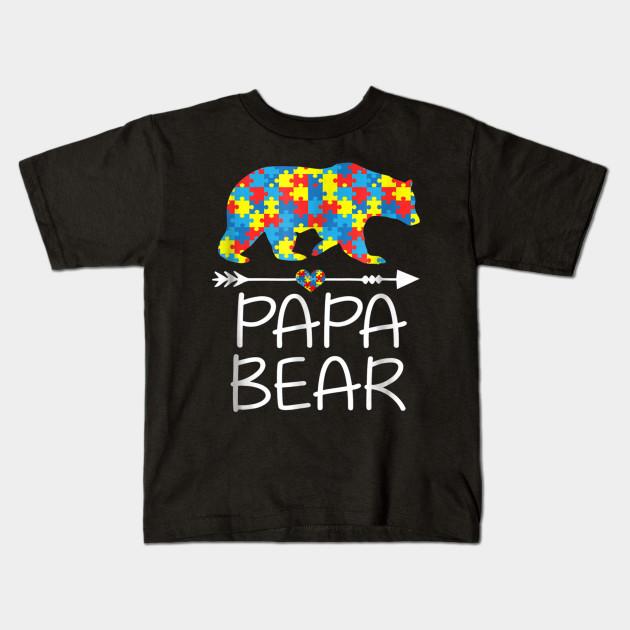 7780efc3 PaPa Bear Autism Awareness T-Shirt Autism Dad,Daddy Tee - Papa Bear ...