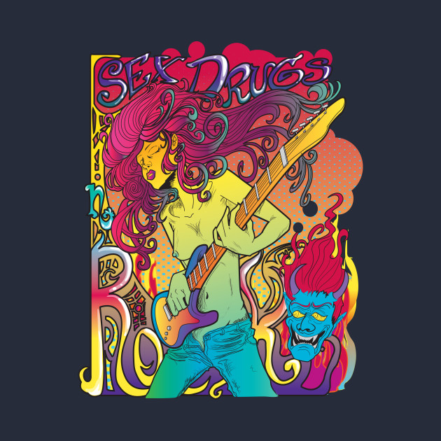 81f933f4 Psychedelic Rock Star Shirt - Rock Star With Guitar - T-Shirt ...