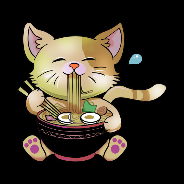 Cute Chibi Anime Manga Cat Ramen Lover