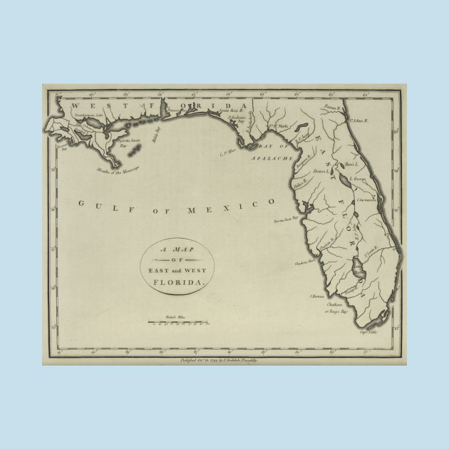 Mexico Map 1794.Vintage Map Of Florida 1794 Florida Map T Shirt Teepublic