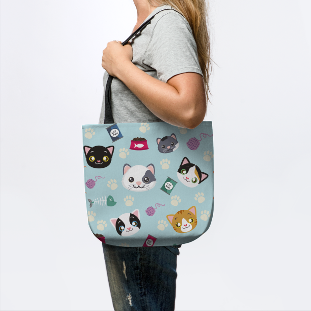 Every Cute Cat Pattern With Toys, Food, Mice, Paws Graphic illustrations