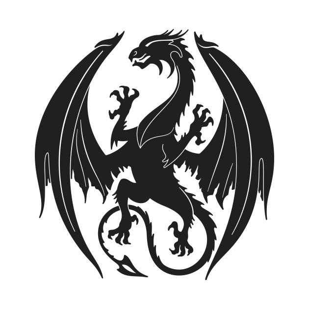 Dragon Heraldry: Silhouette Heraldic Dragon Insignia