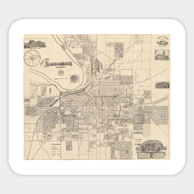 Vintage Map of Montgomery Alabama (1899) - Montgomery Alabama Map ...