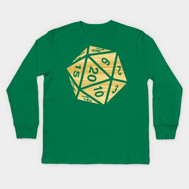706abd351 RPG Dice Shirt d20 | Enchanted Woods Design Wood Grain Pattern Kids Long  Sleeve T-Shirt