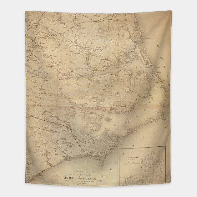 Vintage Map of Eastern North Carolina (1862) - North Carolina Map ...