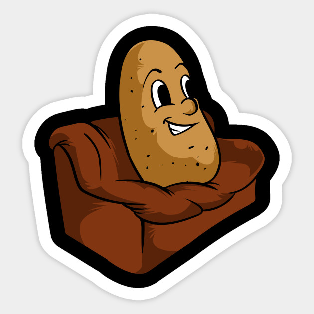 Couch Potato Funny Potato Television Sofa Cool Design Sticker